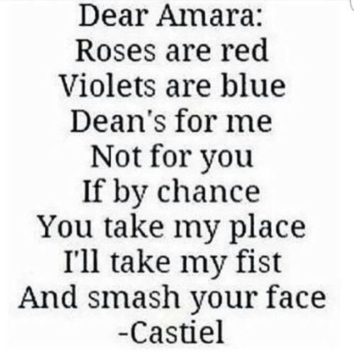 destiel dean winchester castiel amara supernatural poem funny