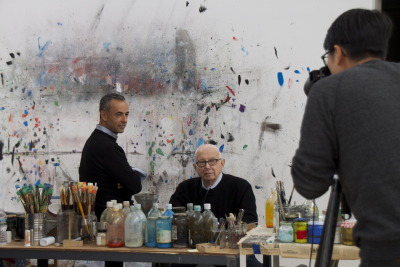 Francisco and Ellsworth Kelly, in the artist's studio in upstate New York, being photographed by Sebastian Kim for Vogue.
