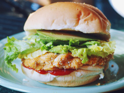 myveganlife:  vegan-yums:  Sweet potato veggie burgers with lettuce and avocado by Krista June on Flickr.  looks good!