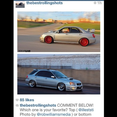Check out @thebestrollingshots & vote for your favorite #subie (mine is the top lol) #subaru #rollinshot #photoshoot #wagon #red #illest #dope #flush #vote #hitthelikebutton
