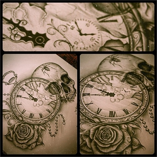 TheBLACKBEARDINKDESIGNCustomInkDesign#pocket watch#vintage#roses#skull