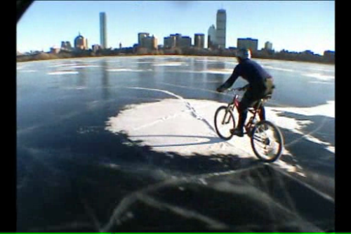 Ice Ice – cycling on the Charles River (video by Lucas Brunelle)