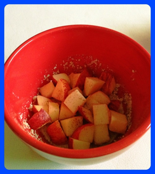 Snack time! Rolled oats with diced apples and cinnamon. Yummie.