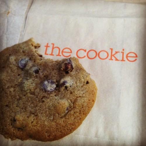 #dailygood 7 - The Melt's chocolate chip cookie is supposed to be so good, it has it's own custom sleeve. #cookiemonster #fattie