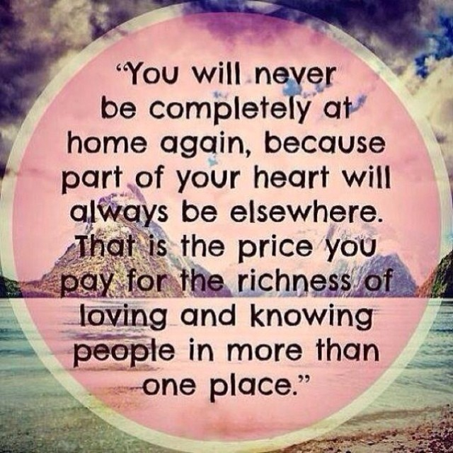 🌍 You will never be completely at home again … Xoxo 🌏 #expatlife #mindfulmonday #motivationalmonday #inspiration #intention #grace #blossom #MIMM