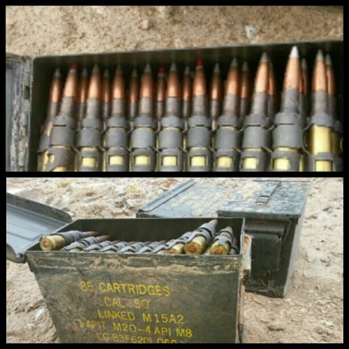 shutthefuckkkuppp:  Ammo cans of 50 cal rounds we found in 29 palms, I should've brought them home #usmc #50cal #rounds #machinegun #29palms