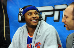 nba:  Carmelo Anthony of the New York Knicks gets interviewed after scoring 40 against of the Atlanta Hawks on April 3, 2013 at Philips Arena in Atlanta, Georgia. (Photo by Scott Cunningham/NBAE via Getty Images)