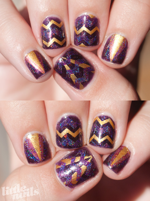 little-nails:  Orly Fowl Play, Orly Glitz, Ozotic 513 read more here…