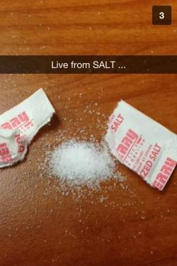 One of the best Snapchat's we've received. The attendees of the SALT 2013 conference would be proud. And yes, it's true, we're on Snapchat. Add us. We'll send you fun behind-the-scenes content. @cnbc