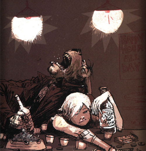 Jager Bombers!!!  Pin up I did with Ashley Wood in TANK GIRL - THE GIFTING (I drew it, he coloured it…) Love'n'tanks Ruf