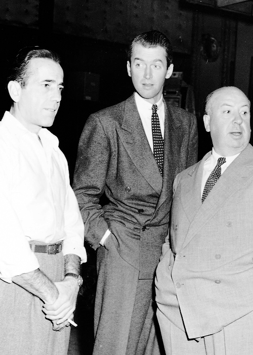 cinephilearchive:  the-film-addict:  Bogart, Stewart and Hitchcock together in the fourties  All the essential documentaries on Alfred Hitchcock, including Hitchcock: Shadow of a Genius (1999), The Men Who Made the Movies: Alfred Hitchcock (1973), Reputations: Alfred Hitchcock (1999), In the Master's Shadow: Hitchcock's Legacy (2008), Paul Merton Looks at Alfred Hitchcock (2009), American Masters: Hitchcock, Selznick and the End of Hollywood (1999), Alfred Hitchcock Directs 'Frenzy' in 1972, Hitchcock: Alfred the Great (1994), Alfred Hitchcock - Masters of Cinema (Complete Interview in 1972), and A Talk with Hitchcock (1964).