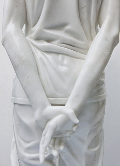 m0tafukah:  beautynursedondarkness:  Detail of Ghost Boy One of four marble statues, in a series by Kevin Francis Gray  Love the cuts in the arms.