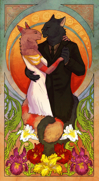 "finished commission for Naoma-Hiru on FA aka ""the whole art nouveau"""
