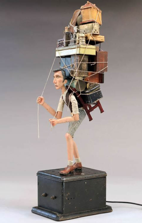 cosascool:  'Departure' by Tom Haney Wood, wire and found objects