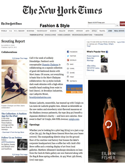 The New York Times online featured our Chalayan/Mavi Capsule Collabortion in their Scouting Report section of the site!