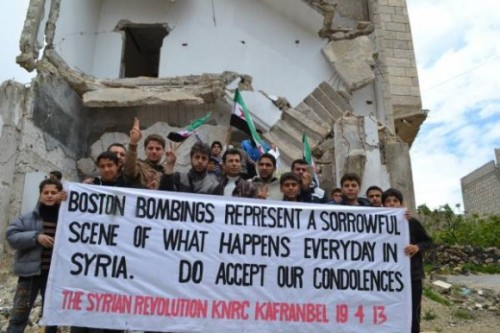 "omg-pictures:  Syrians send their condolences to Boston.http://omg-pictures.tumblr.com  Amazing! They easily could have just said ""Sick it up America this happens all the time here!"" Rather they show a true example of what it means to be compassionate!! Take a lesson from Syria!"