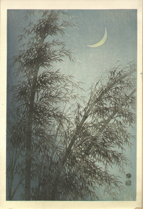 bnrfireandtrees:  iamjapanese:  KOTOZUKA Eiichi(琴塚 英一 Japanese, 1906-1976) Bamboos and the Crescent Moon   1950s Woodblock print  TumbleOn)