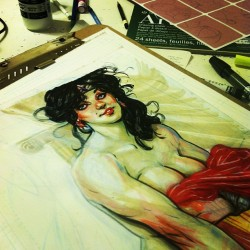 chrisvisions:  Diana WIP2, wrapping her up. If you are interested in a commission, please visit the 'STORE' section of my website, www.chrisvisions.com - #commission #wonderwoman #diana (at The Ink Factory)