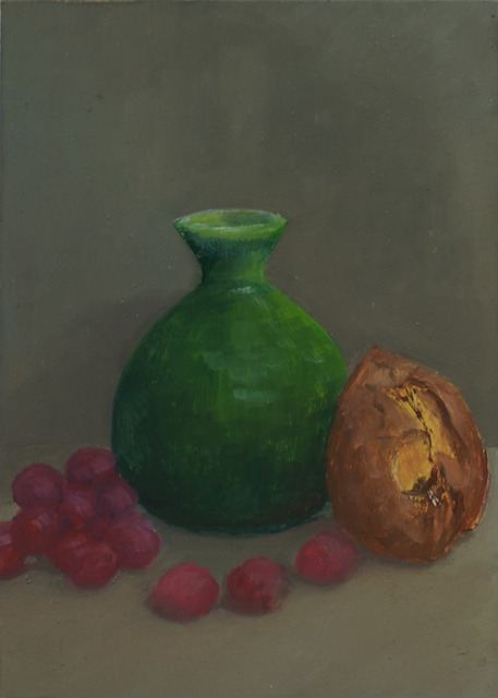 Green Vase, Grapes, and Avocado Seed, oil on panel, 5 x 7 inches, 2012 SOLD