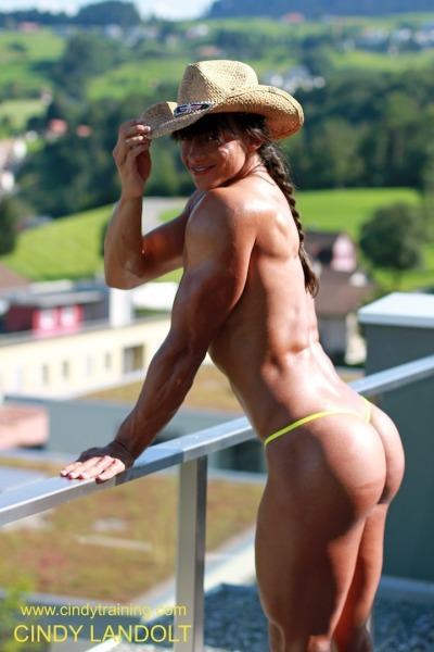 Cindy Landolt in yellow string thong