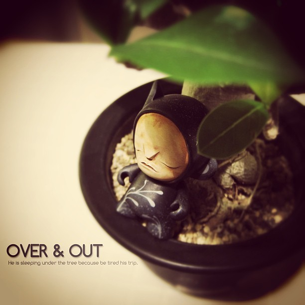 OVER & OUT by @squink. He is sleeping under the tree.