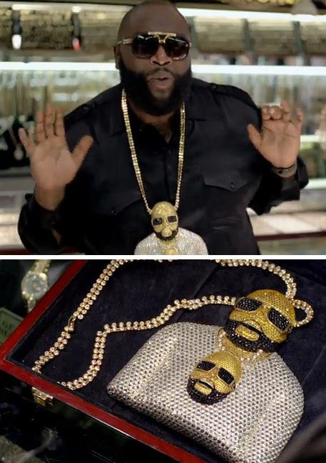 grapeson:  Rick Ross wearing a chain of himself wearing a chain of himself.