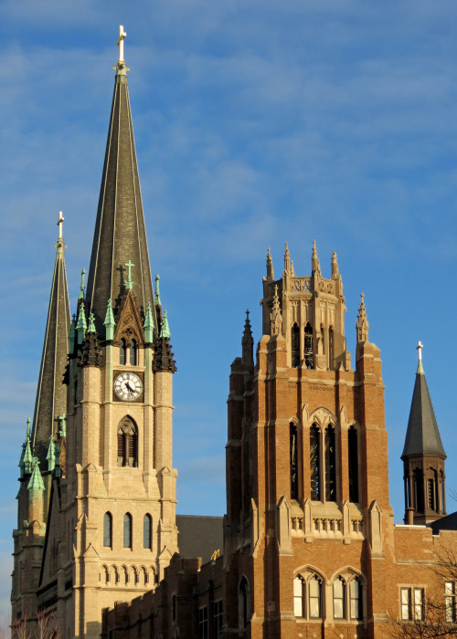 Gesu Church and Marquette Hall at Marquette University.