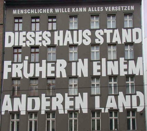 visual-poetry:  »dieses haus stand früher in einem anderen land« by jean-remy von matt (this house once stood in a different country)