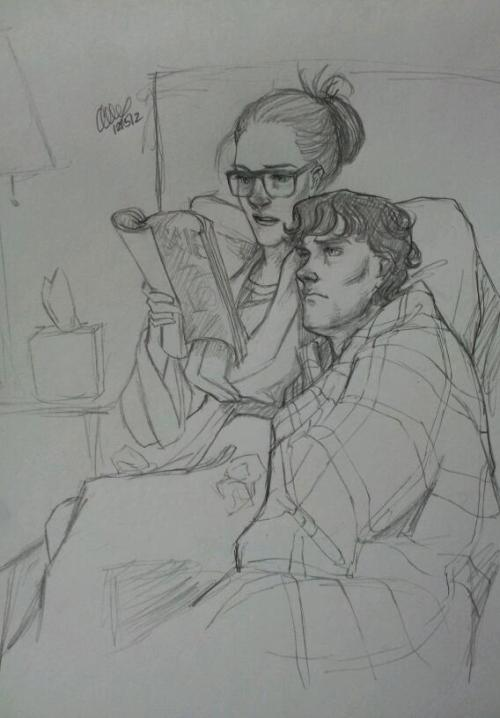 "artbylexie:   ""You really need to stop reading over my shoulder."" ""I'm not reading over your shoulder. I'm laying on it and therefore reading along just fine."" ""Oh, just…shut up.""  Prompt: Sherlolly; Molly taking care of Sherlock while he's sick. But that didn't work out because she just ended up catching his cold and now they're both rather grumpy."