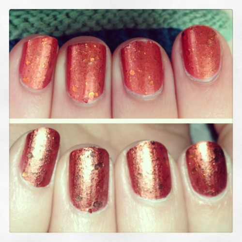 #Metallic rust with #rust #glitter on top. Finished with a #mattetopcoat . Without and with flash to show the cool matte. #notd #nails