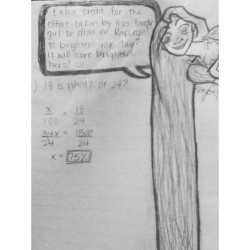 #creative attempt to get #extracredit on my math homework. Hey. Extra credit is extra credit when it come to me and #math. Even if it comes in the form of Rapunzel!