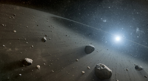 Evidence found for asteroid belt around Vega  Astronomers have discovered what appears to be a large asteroid belt around the star Vega, the second brightest star in northern night skies. The scientists used data from NASA's Spitzer Space Telescope and the European Space Agency's Herschel Space Observatory. The discovery of an asteroid belt-like band of debris around Vega makes the star similar to another observed star called Fomalhaut. The data are consistent with both stars having inner, warm belts and outer, cool belts separated by a gap. This architecture is similar to the asteroid and Kuiper belts in our own solar system. What is maintaining the gap between the warm and cool belts around Vega and Fomalhaut? The results strongly suggest the answer is multiple planets. Our solar system's asteroid belt, which lies between Mars and Jupiter, is maintained by the gravity of the terrestrial planets and the giant planets, and the outer Kuiper belt is sculpted by the giant planets. The Herschel and Spitzer telescopes detected infrared light emitted by warm and cold dust in discrete bands around Vega and Fomalhaut, discovering the new asteroid belt around Vega and confirming the existence of the other belts around both stars. Comets and the collisions of rocky chunks replenish the dust in these bands. Both the inner and outer belts contain far more material than our own asteroid and Kuiper belts. The reason is twofold: the star systems are far younger than our own, which has had hundreds of millions more years to clean house, and the systems likely formed from an initially more massive cloud of gas and dust than our solar system.  Image credit: NASA/JPL-Caltech