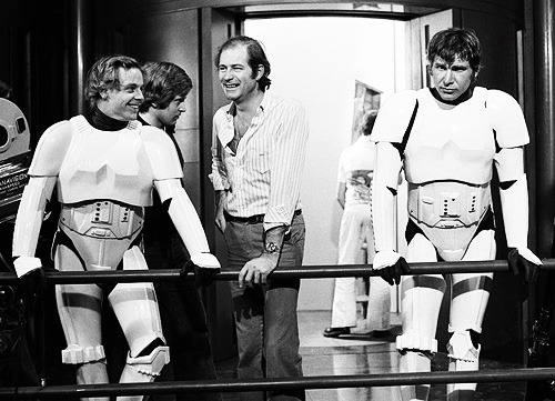cinecat:  Mark Hamill and Harrison Ford on the set of Star Wars (1977)