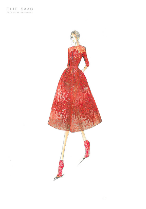 eliesaab:  A sketch of the dress Sonam Kapoor wore to the opening ceremony gala of The 66th Annual Cannes Film Festival. The Haute Couture cocoon dress is made of delicate lace and embroidered guipure. The Spring Summer 2013 piece is of Baroque influence.View the full look here: http://ow.ly/l6tO4