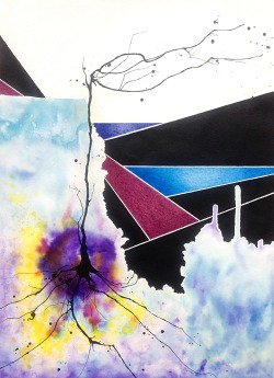 "SUBMISSION: Marcos Marchetti ""Horizonte plural"" Nankin, watercolor and pen on paper. 2013"