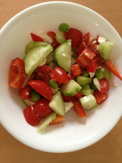 Cucumber+Edamame+Red Pepper+Cherry Tomato+Lemon+Salt+Pepper