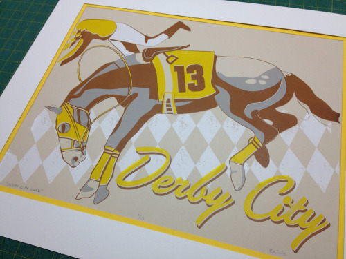 "Here is my finished print for Why Louisville's Giddy Up! Kentucky Derby Inspired Art Show. ""Derby City Luck"" is a 16x20 inch, four color screen print on 80# French Newsprint Aged Dur-O-Tone. Limited to a lucky field of 13 hand-pulled prints. Available this Friday, 04/05 at the show."