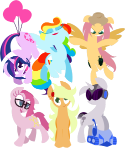 ask-diane-pie:  Skylight Sparkle, Splash Rainbow, Feathershy, Diane Pie, Applejack, and Verity, all in one place!