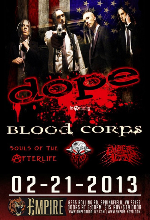 Tonight's the night!  Opening for Dope again!!! \m/ ^_^ \m/  www.bloodcorpsmusic.com www.facebook.com/bloodcorps