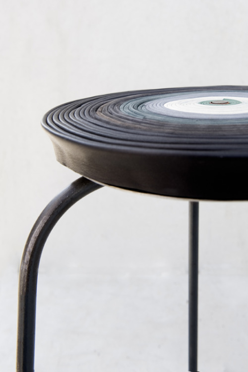 "Stools incorporating ""rejected leather,"" among the projects from Pepe Heykoop (earlier mention here):  Leather Loops is another reaction to waste leather. Fully rejected skins, faded by sunlight or with too many damages are used in this project. Like an l.p. the leather tops can easily be swapped within the family of frames.  (via www.pepeheykoop.nl)"