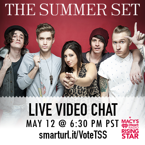 It's almost time for our LIVE CHAT! Tweet your questions to @the_summer_set with #TSSMacysRisingStar! Don't forget to keep voting for us in the iHeartRadio Rising Star Contest! Go into the chat now! http://smarturl.it/VoteTSS