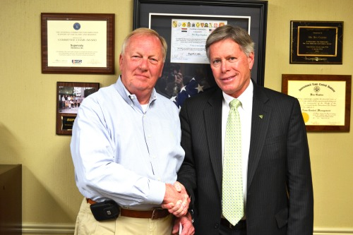 "Delta State University President William N. LaForge, recently met with General Manager of SUPERVALU, Major General James Gaston to collaborate on future fundraising ideas to achieve Delta State University's scholarship endowment goal. ""I am impressed by the enthusiasm and energy that Bill LaForge has for making Delta State a great university,"" said Ben Gaston.  General Gaston earned three degrees while attending Delta State University.  In 1974, he received his Bachelor of Science in Chemistry, 1975 he earned his Master of Science in Chemistry, and 1980 he received his Master of Business Administration.   PHOTO:  President William N. LaForge met with Major General James Gaston, General Manager of SUPERVALU to discuss fundraising ideas for the benefit of Delta State University."