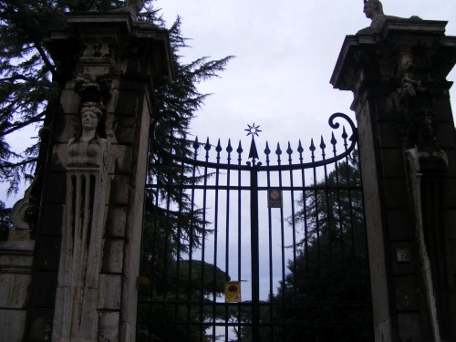 Outside a cemetery in Rome.