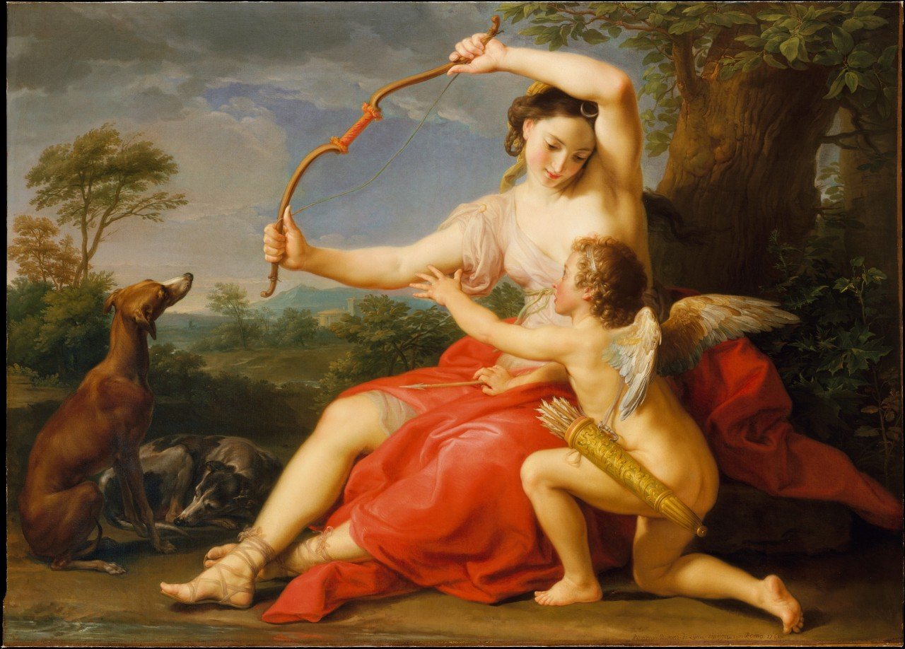 Diana and Cupid (1761) by Pompeo Batoni  (Italian painter, 1708–1787).