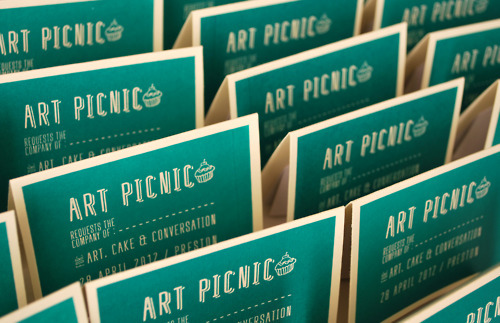 Screenprinted invites for the Art Picnic event in Preston. Designed by Steph Fletcher.