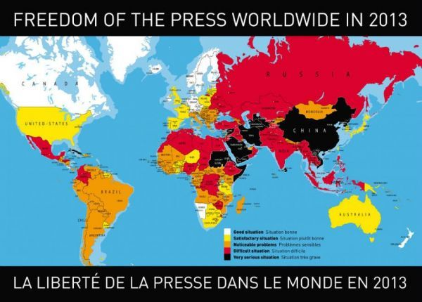 "Press Freedom Index 2013  After the ""Arab springs"" and other protest movements that prompted many rises and falls in last year's index, the 2013 Reporters Without Borders World Press Freedom Index marks a return to a more usual configuration. The ranking of most countries is no longer attributable to dramatic political developments. This year's index is a better reflection of the attitudes and intentions of governments towards media freedom in the medium or long term."