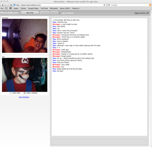 MARIO ON MANROULETTE! HAHAHAHA! Chatroulete was boring but Manroulette on the other hand XDThe guy went crazy for Mario, even showed me his Angry Bird. Read the conversation! its really funny xD Just click the high res to read it