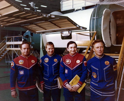 The backup crew, Viktor Gorbatko and Eberhard Köllner, and prime crew Valery Bykovsky and Sigmund Jähn, of Soyuz 31. The Russian and East German crew spent 7 days in space aboard Salyut 6 as part of the Interkosmos program. (1978) (Source)