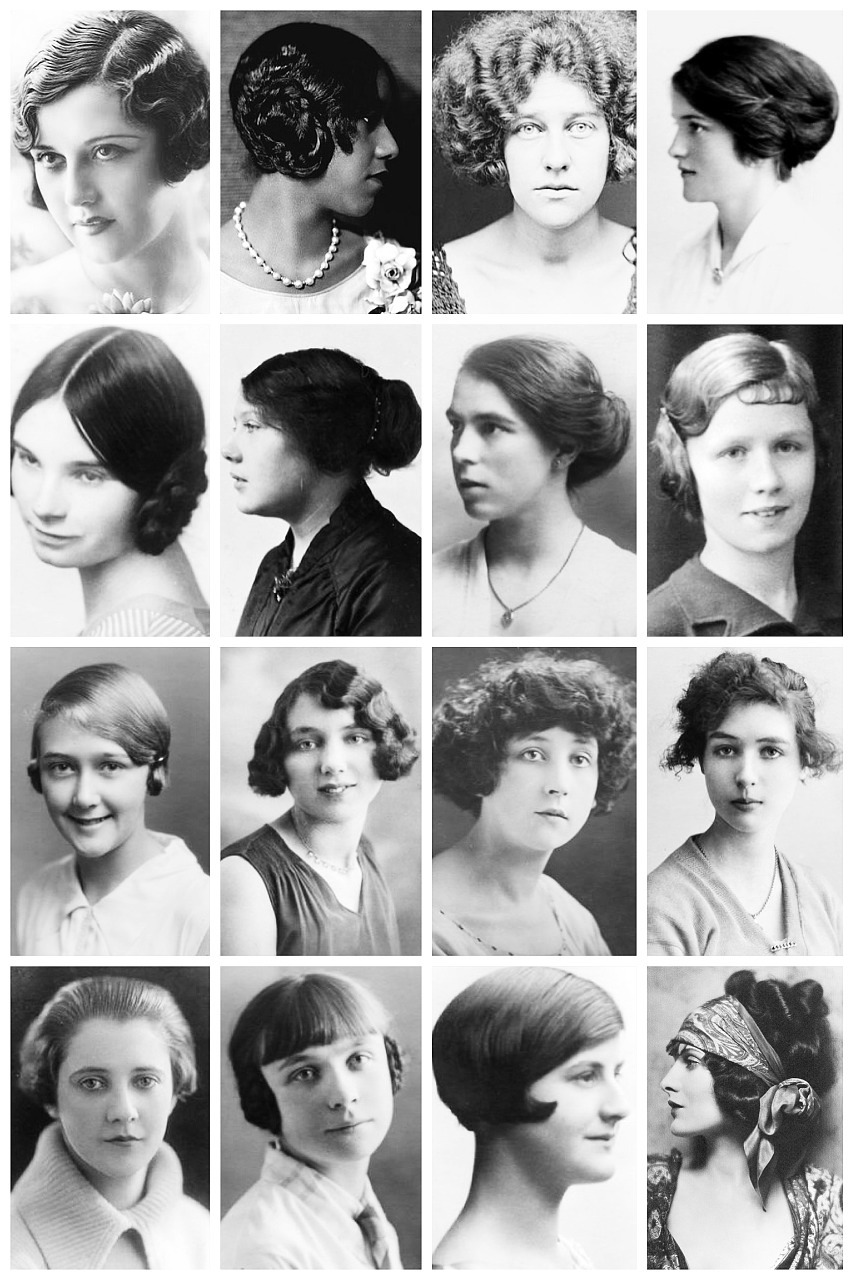 thevintagethimble:  1920's HairstylesA collection of 1920's photographs, depicting some of the hairstyles of the time, like the kiss curl, the orchid bob, the charleston cut, coconut bob, earphones hairstyle, cottage loaf (bun) and popular styles you'll probably never see in a period drama like extreme windblown style, the frizzy hairstyle and the Poodle cut. Victorian Hairstyles Here [x] | Edwardian Hairstyles Here [x]