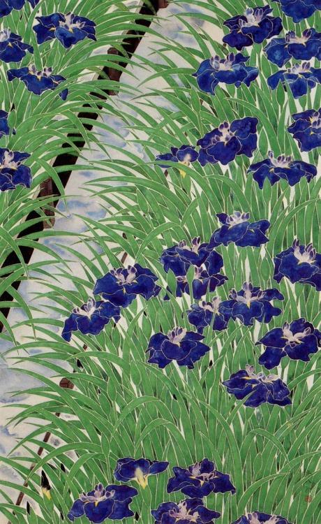 irises flower painting japanese painter Heihachiro Fukuda